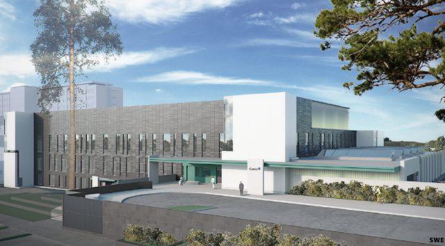 Arkkitehdin havainnekuva Kymenlaakson keskussairaalasta