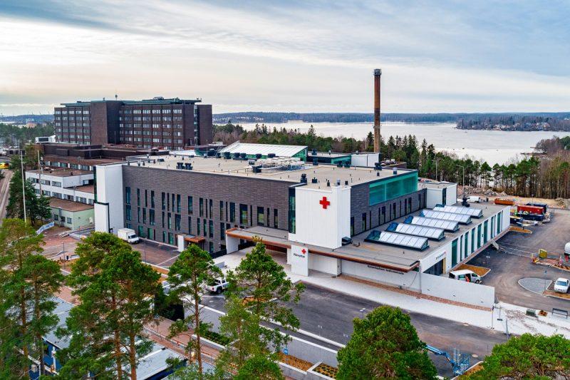 Kymenlaakson keskussairaala ilmakuvassa.