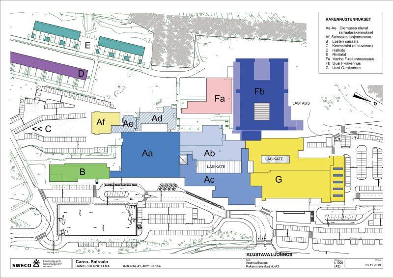 Kymenlaakson keskussairaalan alustava rakennusosakaavio