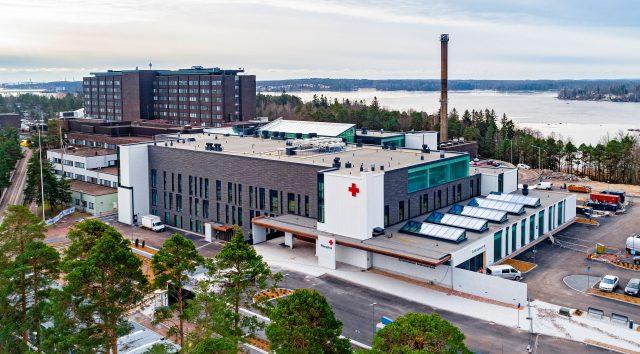 Kymenlaakson keskussairaalan laajennusosa, dronekuva