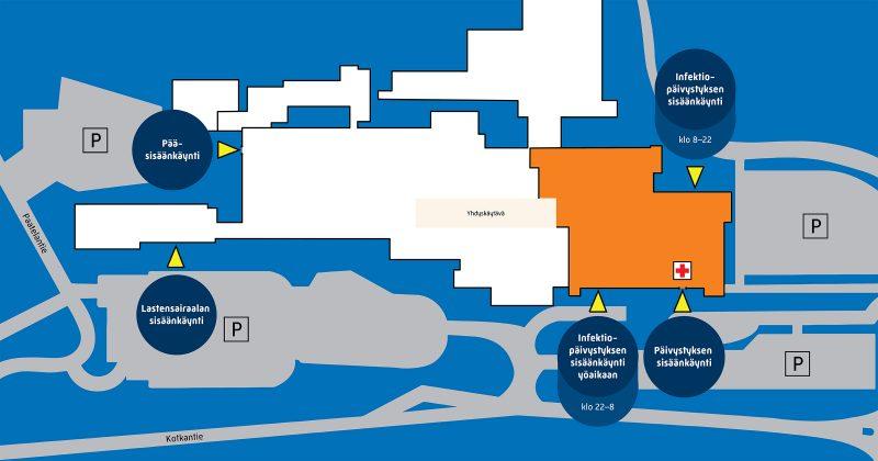 Kartassa sairaalarakennus. Pohjoispäädyssä uudessa sairaalaosassa sijaitsee päivystyksen sisäänkäynti. Heti sen vieressä on infektiopäivystyksen sisäänkäynti yöaikana (22-8). Rakennuksen toisella puolella samassa päädyssä on infektiopäivystyksen sisäänkäynti (klo 8-22). Sairaalarakennuksen eteläpäädyssä on pääsisäänkäynti. Etelässä on myös lastensairaalan siipi, jossa on lastensairaalan sisäänkäynti.
