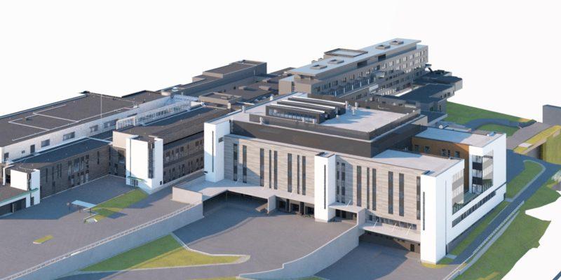 Havainnekuva isosta rakennuksesta, joka on kiinni nykyisessä sairaalarakennuksessa.